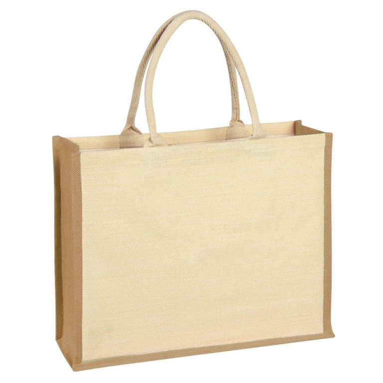 Jute tote bag with beige accents