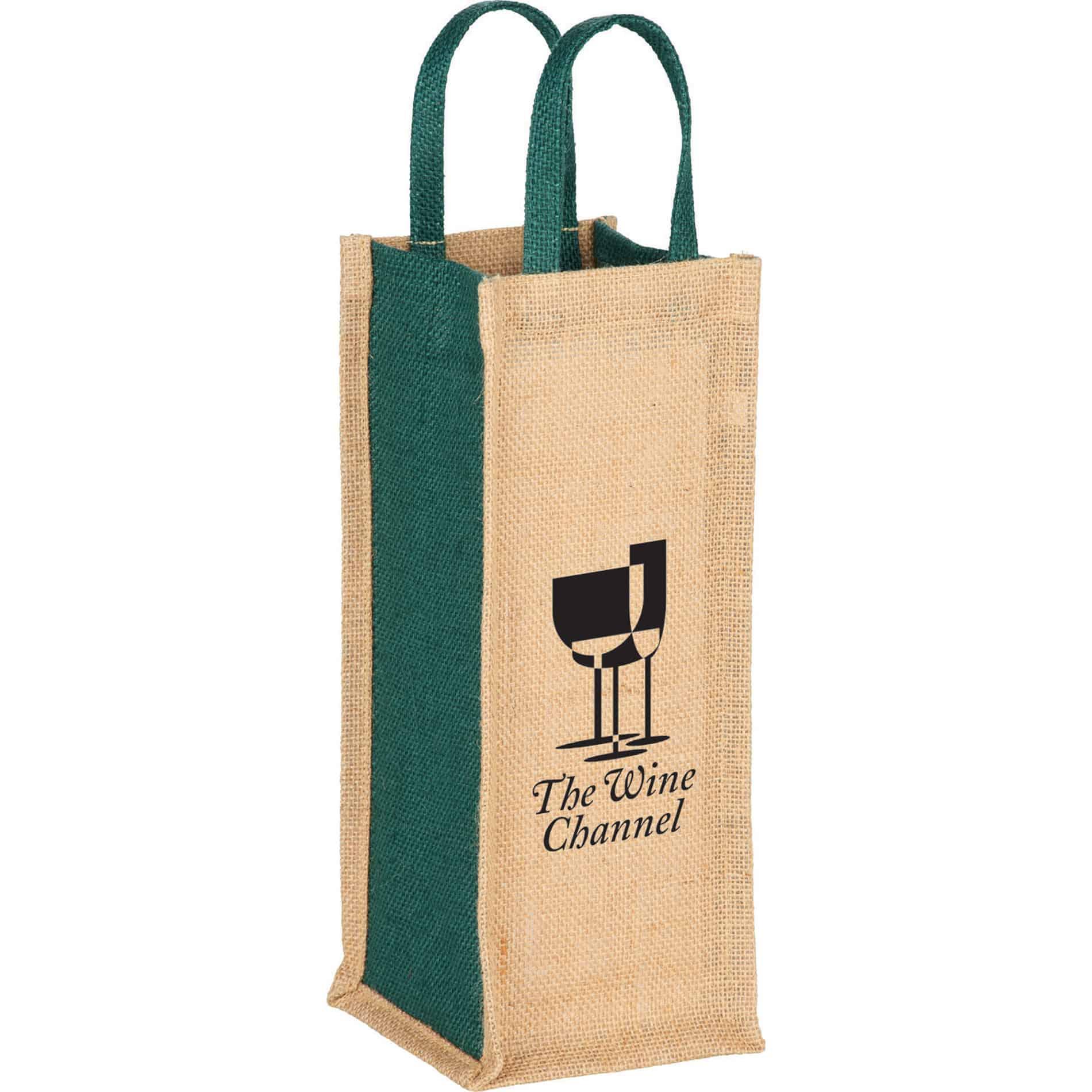 Jute wine bag holds a single bottle ladies