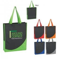 Group of Non woven tote bags with colorful accent trim from Bag Ladies
