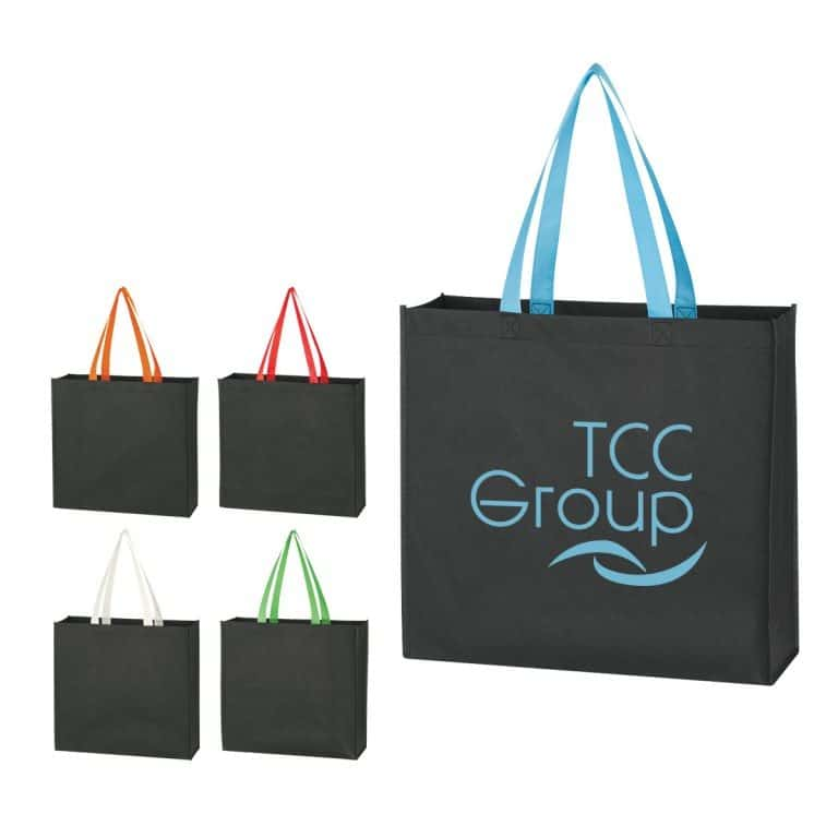 Group of black non woven tote bag with colorful handles