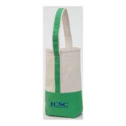 Cotton accent wine tote, green