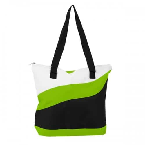 Lime accented wave tote