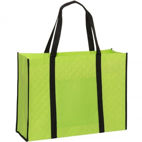 Lime Green Quilted Tote Bag