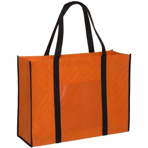 Orange Quilted Tote Bag