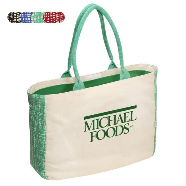 canvas tote with green gusset