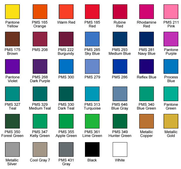 Polypropylene Stock Ink Colors - The Bag Ladies