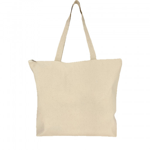 zippered cotton shopping tote